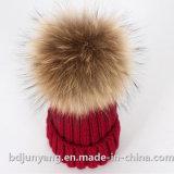 Chapéu de Inverno Moda colorida com esfera de peles com pêlo