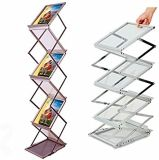 A4 Aluminium Catalogue Stand, Support de magasin, Support de brochure portatif, Support de brochure, Porte-documents, Catalogue pliable Support, Stand de catalogue en zigzag