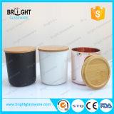 Spray personnalisé coloré en forme de U bas porte-bougie en verre avec couvercle en bambou