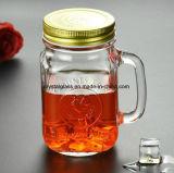 Vide personnalisées Cheap 16oz 500ml bocal en verre à boire avec poignée de la paille