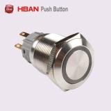 19mm Ring-Illumination momentaneamente os interruptores de botão de Pressão Industrial de Travamento