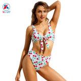 Les femmes Soutien-gorge push up rembourré Set imprimé floral bleu clair cravate Triangle Bikinis taille haute avant