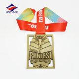 Longzhiyu印刷のリボンが付いている連続したメダル亜鉛合金メダル12年の製造業者の高品質の専門のカスタムスポーツ