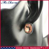 2개의 색깔은 여자를 위한 모조 다이아몬드 장식 못 귀걸이를 네모로 한다