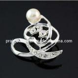Crystal Estrás tachonada con Pearl silver broche broche el tono de la moda de joyería Bisutería Brooch accesorio de moda (PBr-020)