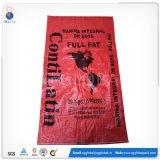 saco tecido PP vermelho impresso 50kg para a semente de empacotamento da grão de alimentação