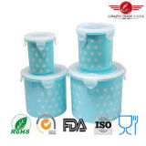 Airtight Lid를 가진 4PCS Cylindrical Plastic Food Storage Box