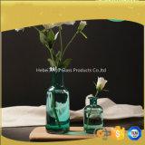 Boca ancha jarrón de cristal azul para la decoración del hogar con flor