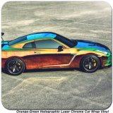 Tsautop 1.42*20m 주황색 녹색 자필 Laser 크롬 차 체색 변화 비닐