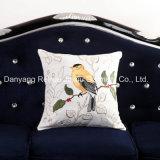 Broderie d'oiseaux en toile de coton Housse de coussin décoratif