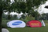 La publicité extérieure d'événement d'impression Teindre-Secondaire de bonne qualité sautent sautent à l'extérieur vers le haut un drapeau de vue avec le signe promotionnel graphique d'étalage de jour de jeu de sports de golf