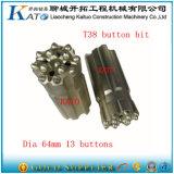 outils de forage de roche d'outil à pastilles d'extrémité du carbure T38 de 64/76mm