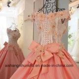 Платье венчания шнурует вверх заднее Appliqued платье вечера втулок краткости