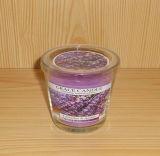 De gebemerkte Romantische Kaars van de Soja in de Duidelijke Kruik van het Glas met Deksel