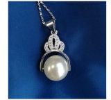 Collar pendiente de plata de la perla de la corona alrededor de los accesorios esterlinas cultivados de agua dulce de la joyería de la manera del collar de la hebra de la perla 925 de 9-10m m Ture