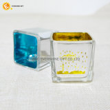 Envase de cristal del sostenedor de vela del cuadrado del corte del laser
