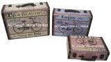 S/3 оформлены старинной Vintage жизнь - это красивый дизайн печати фиолетового цвета кожи/MDF деревянные окна чемодан для хранения данных
