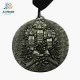 Médaillons gravés en relief par 3D en alliage de zinc en métal de logo de coutume de nickel antique