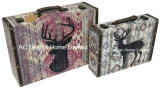 S/2 de Decoratieve Antieke Uitstekende Doos van de Koffer van de Opslag van de Druk Pu Leather/MDF van het Ontwerp van de Vlinder Houten