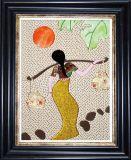 熱い販売フレームのコラージュのパッチワークの絵画、布の芸術の絵画