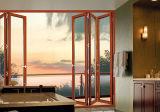 Алюминиевая двойная стеклянная дверь складчатости патио с экраном