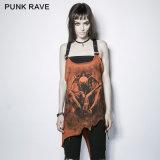 Gilet irrégulier coloré d'impression d'os de démon de type punk punk de l'éloge PT-112