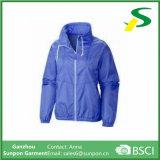 호수 녹색 얇은 여자 방풍 외투 재킷