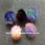Chapeau de sac de femme Pompoms en fourrure de raccoon Pompoms en fourrure multi couleur