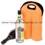 Refrigerador de vino anaranjado promocional impreso aduana de la botella del doble del neopreno