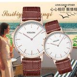 上のブランドの高品質の方法人の女性の簡単な腕時計ののどの革アナログの水晶ギフトの腕時計のクロック- V419