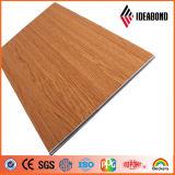 Superficie de madera franco (ignifugar del grado B1, A2) ACP de la capa del PE PVDF