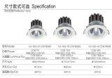Anti-Glar d'ÉPI de modèle neuf lumière vers le bas/projecteurs rotatifs de plafond de l'ÉPI DEL du CREE 18W