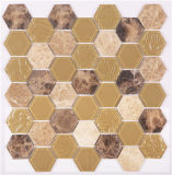 Baumaterial-Hexagon-Glasmosaik-Wand-Fliese