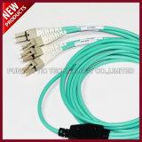 Cuerda de corrección óptica del PVC de Rised del Aqua de la fibra de FTTH 3.0m m OM3 LC Uniboot