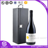 High-End Wine Packaging Handle Lock Caixa de couro PU