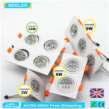 12W 자연적인 백색 사각 알루미늄 고성능 Dimmable LED Downlight