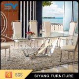 Hogar Muebles de comedor moderno de acero inoxidable de juegos de mesa de comedor de cristal