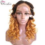 Темные корни русые вьющиеся парики с ударов человеческого волоса Virgin бразильского полного кружева Wig