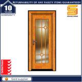 Porte intérieure stratifiée par PVC imperméable à l'eau en verre en bois solide de forces de défense principale de placage
