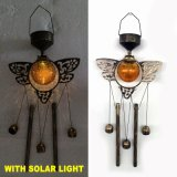 Beleuchtete Garten-Dekoration-Bronzen-Ende-Metalleule Windbell Solarfertigkeit