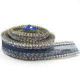 Rhinestone элемента уравновешивая горячий Fix отбортовывает цепь Rhinestone сетки Silk для вспомогательного оборудования одежды (синь TP-15mm Silk)
