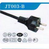 Cabo de energia AC de aprovação VDE europeu com plugue (JT003-B)
