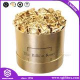 Rectángulo de empaquetado de papel redondo impermeable de la flor del regalo del oro