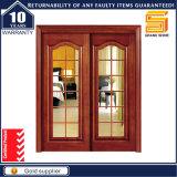 Double porte en bois coulissante en verre en bois intérieure