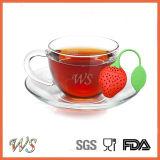 Setaccio materiale della lamella filtrante del tè dell'a fogli staccabili del silicone del commestibile di Infuser del tè della fragola Ws-If047