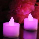 분홍색 선물 상자에 있는 색깔 LED Tealight 건전지에 의하여 운영하는 초