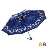 Синий цвет Автоматическое складывание дамы складной зонтик