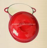 鋳鉄カバー中国が付いている26cmの赤のエナメルの鋳鉄のカセロールの調理器具
