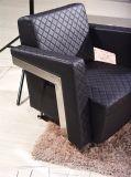 Sofá do pé do aço inoxidável do sofá do escritório do plutônio do couro do projeto moderno