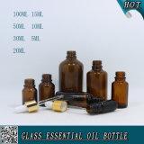bouteille en verre ambre de compte-gouttes de 5ml 10ml 15ml 20ml 30ml 50ml 100ml pour l'huile essentielle